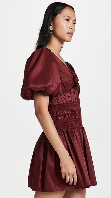 Self Portrait Oxblood Taffeta Puff Sleeve Mini Dress