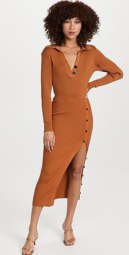 Self Portrait - Cinnamon Ribbed Knit Midi Dress