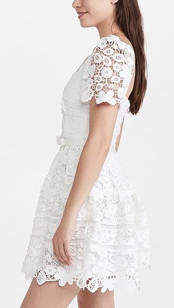 Self Portrait 白色凸花蕾丝迷你连衣裙