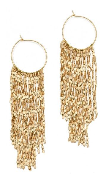 serefina Long Fringe Hoop Earrings