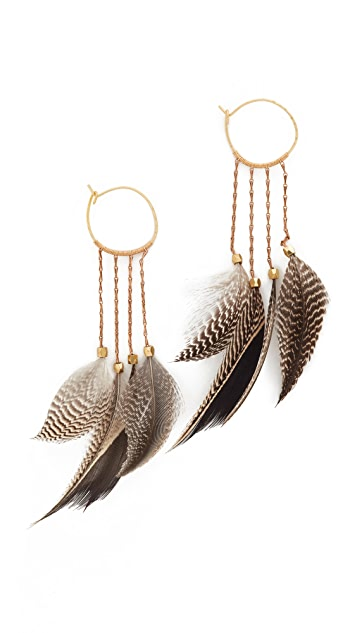 serefina Statement Feather Hoop Earrings