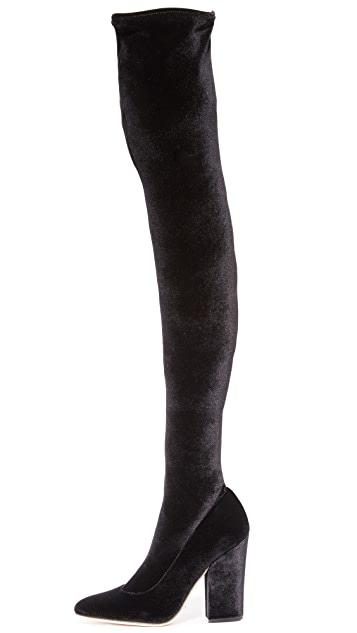 Sergio Rossi Virginia Velvet Over the Knee Boots