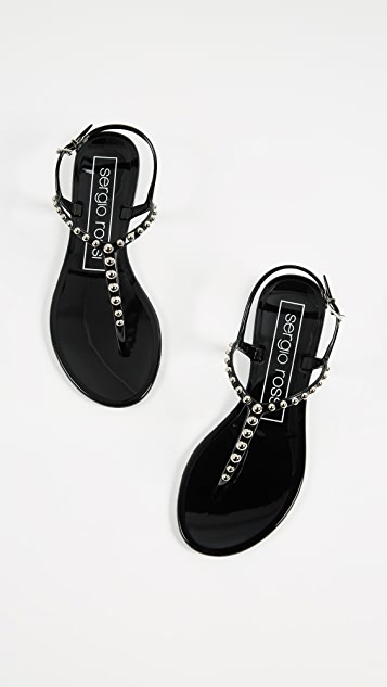 Sergio Rossi Khata Beaded Jelly Sandals
