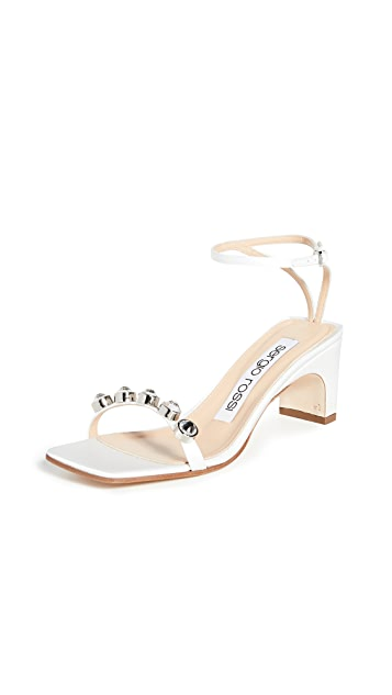 Sergio Rossi 60mm SR1 Satin + Stones Sandals