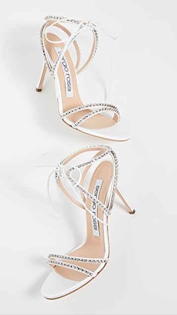 Sergio Rossi Godiva Bridal Satin + Crystals Sandals