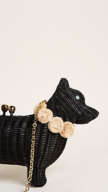 Serpui Marie Dog Wicker Clutch