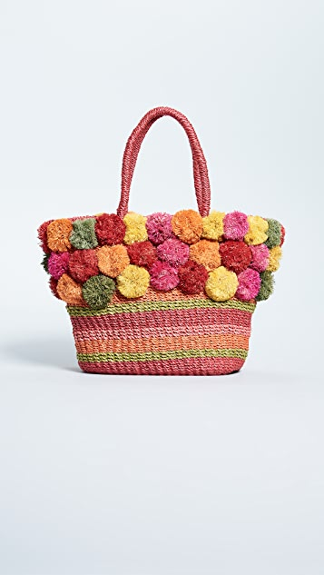 Serpui Marie Yara Striped Straw Tote