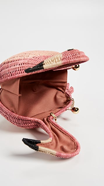 Serpui Marie Flamingo Wicker Clutch