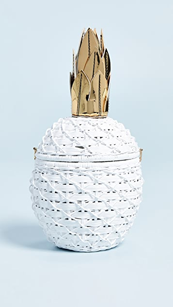 Serpui Marie Pineapple Wicker Clutch