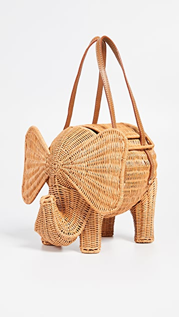 Serpui Marie Elephant Wicker Clutch