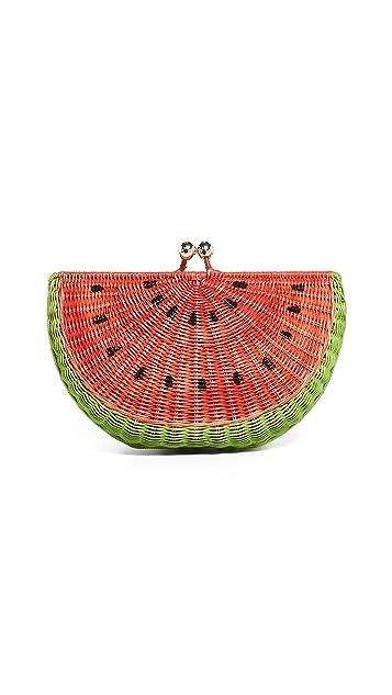 Serpui Marie Watermelon Wicker Clutch
