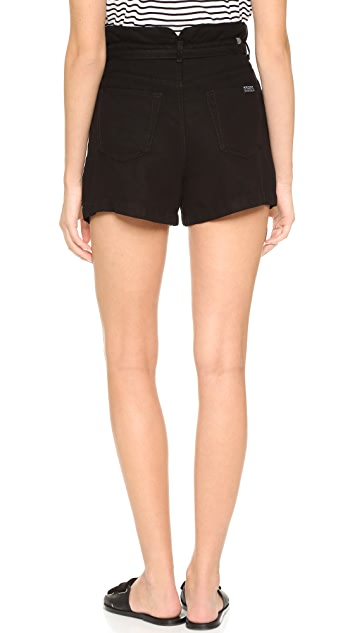 7 For All Mankind Belted Pleated Shorts