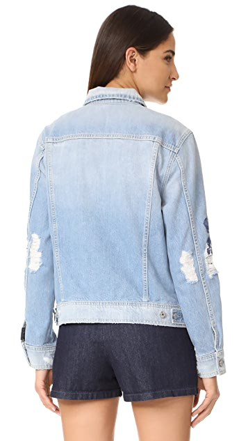7 For All Mankind Boyfriend Jacket with Blue Roses