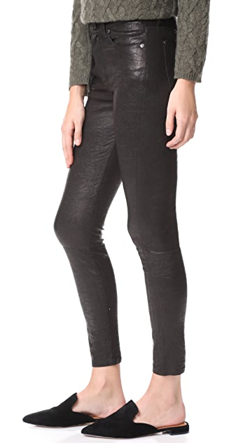 7 For All Mankind The Ankle Skinny Leather Pants
