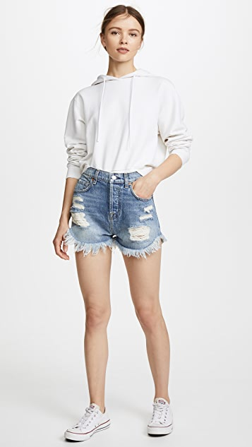 7 For All Mankind High Waisted Cutoff Shorts with Scallop Hem