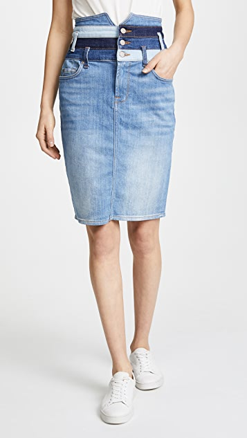 7 For All Mankind Patchwork Corset Skirt