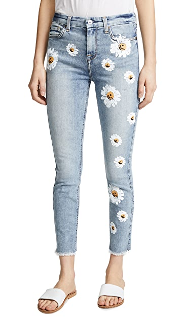 7 For All Mankind The High Waist Skinny Jeans with Daisies