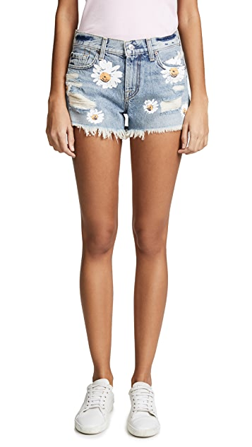 7 For All Mankind Cutoff Shorts with Daisies
