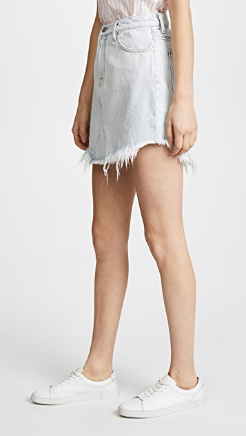 7 For All Mankind Scallop Frayed Hem Skirt