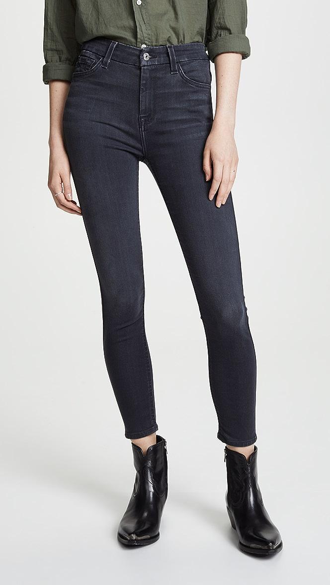 7 For All Mankind B Air Denim High Waist Skinny Black Full Length Jeans
