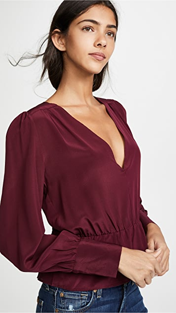 7 For All Mankind Deep V-Neck Peplum Blouse