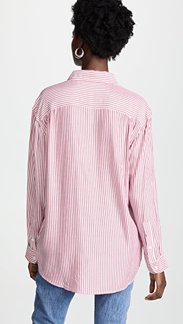 7 For All Mankind Striped Tie Front Button Down