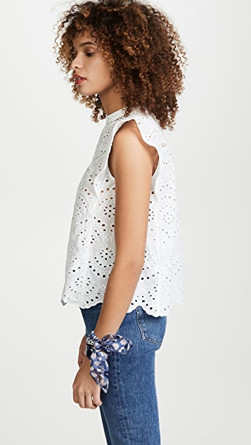 7 For All Mankind Eyelet Sleeveless Top