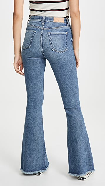 7 For All Mankind Exaggerated Kick Flare Jeans with Fray Hem