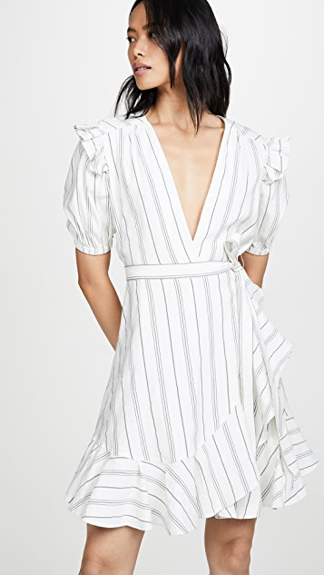 7 For All Mankind Ruffle Sleeve Shoulder Wrap Dress