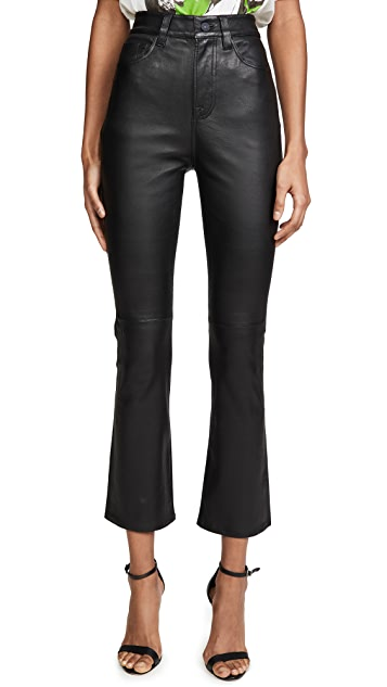 7 For All Mankind High Waisted Leather Slim Kick Jeans