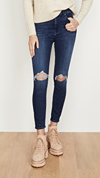 High Waisted Destroyed Ankle Skinny Jeans