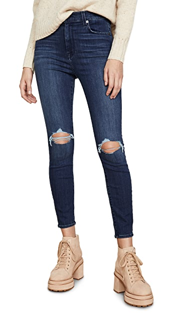 7 For All Mankind High Waisted Destroyed Ankle Skinny Jeans