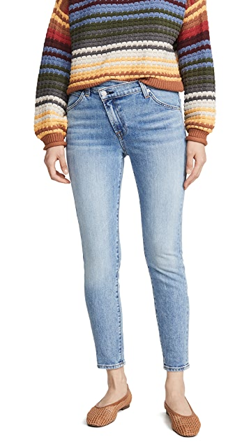 7 For All Mankind Asymmetric Front Skinny Jeans