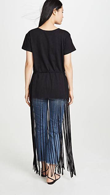 7 For All Mankind Long Fringe Tee