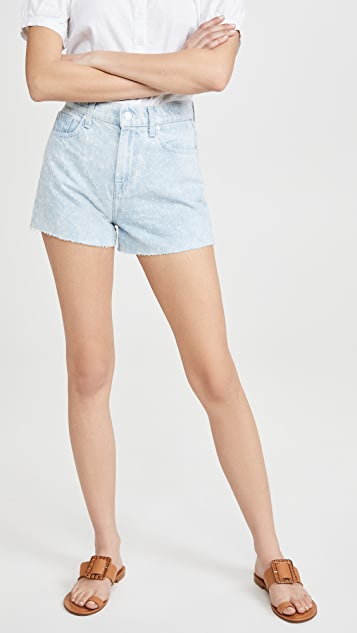 7 For All Mankind High Waist Shorts with Cutoff Hem