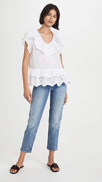 7 For All Mankind Ruffle Eyelet Top