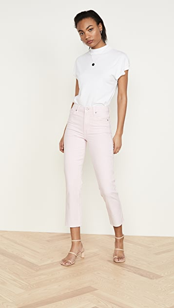 7 For All Mankind High Waist Cropped Straight Jeans