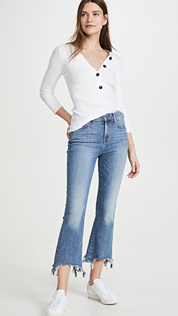7 For All Mankind High Waist Slim Kick With Chewed Hem Jeans