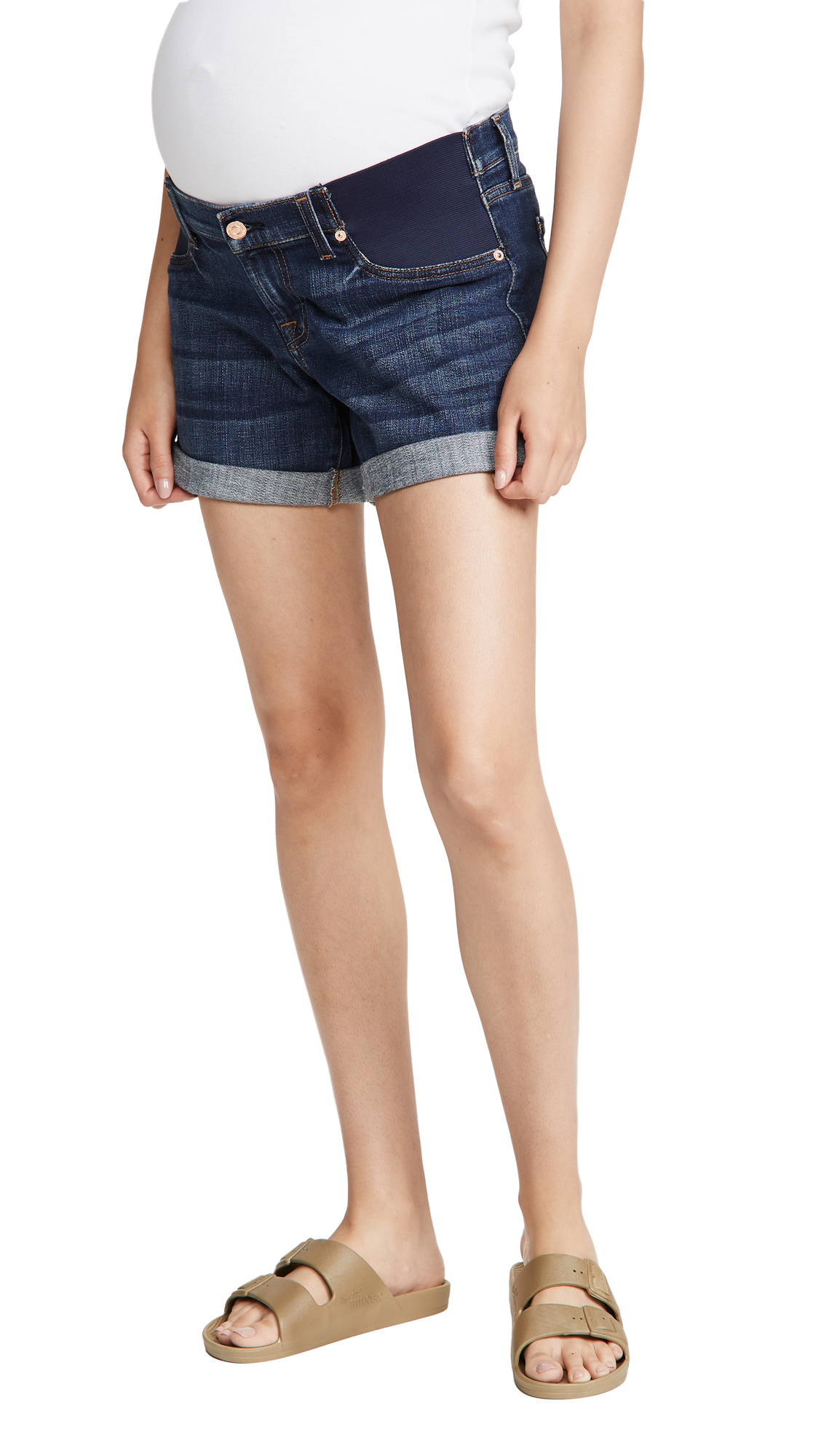 7 For All Mankind Maternity Relaxed Mid Roll Shorts