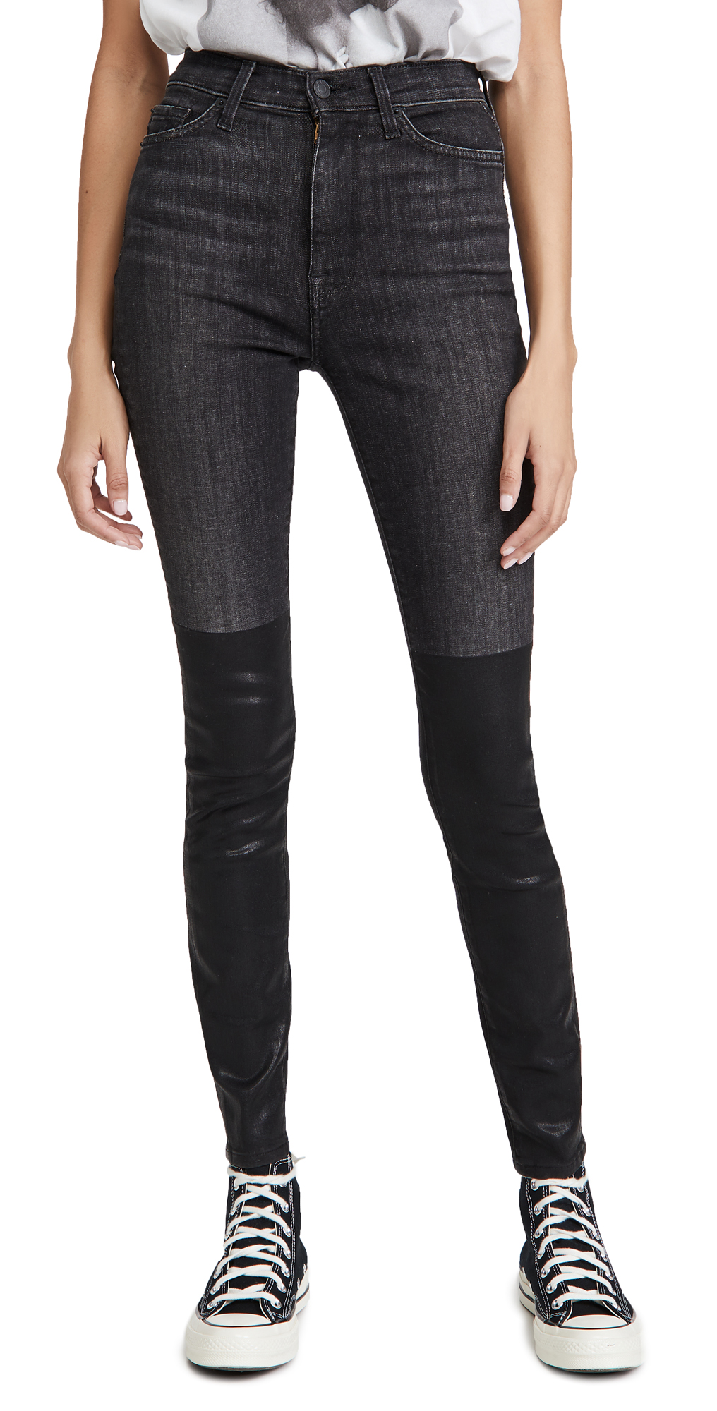 7 For All Mankind Coated Boot High Waist Skinny Jeans