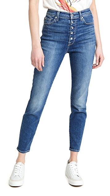 7 For All Mankind 高腰紧身牛仔裤