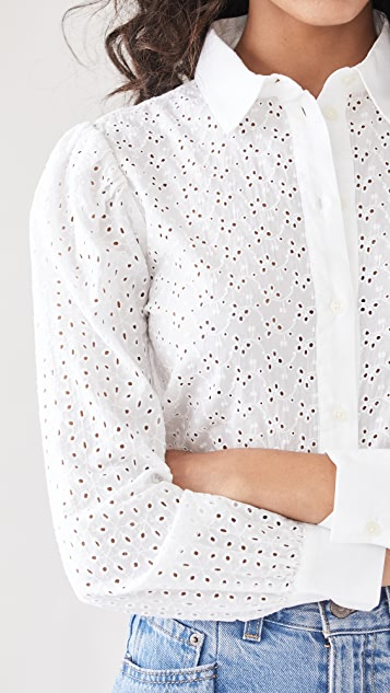 7 For All Mankind Puff Sleeve Eyelet Shirt