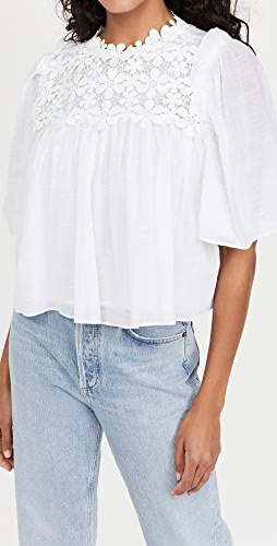 7 For All Mankind - Applique Floral Ruffle Blouse