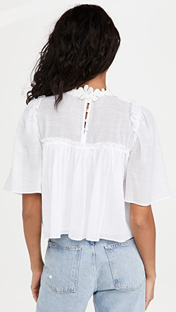 7 For All Mankind Applique Floral Ruffle Blouse