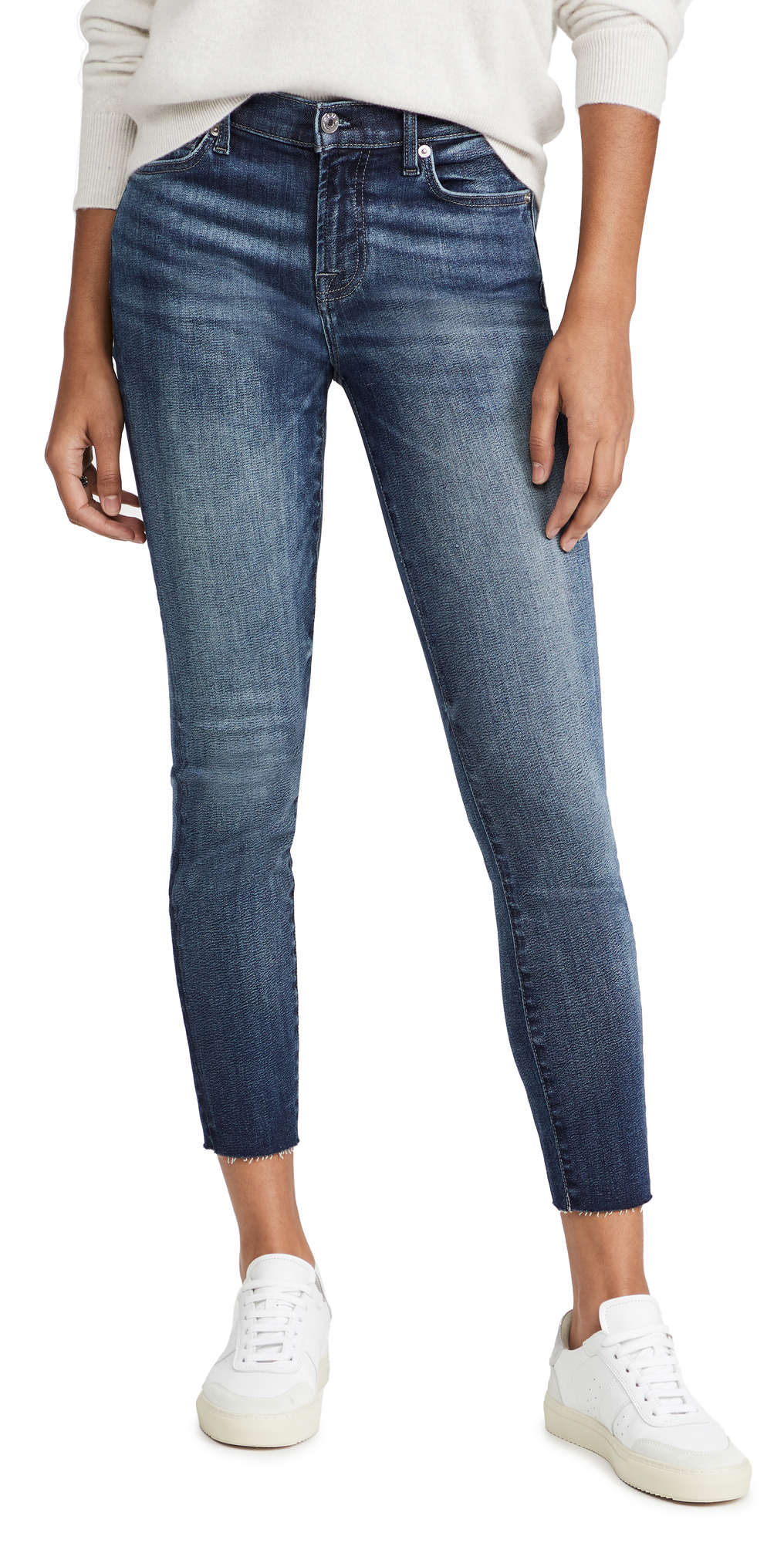 7 For All Mankind Ankle Skinny Cut Hem Jeans