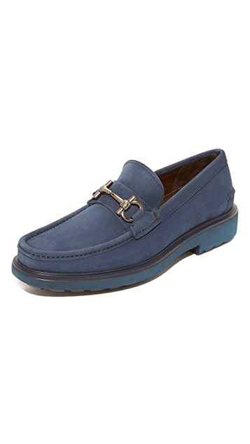 Salvatore Ferragamo Glasgow Bit Suede Loafers