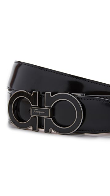 Salvatore Ferragamo Double Gancio Outline Leather Belt