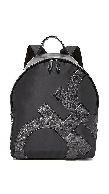 Salvatore Ferragamo Offset Gancini Tech Nylon Backpack