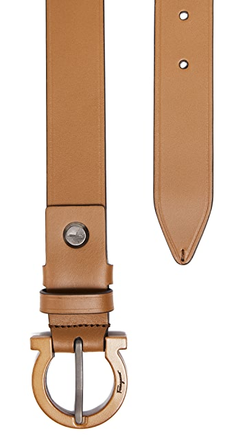 Salvatore Ferragamo Tonal Leather Gancio Belt