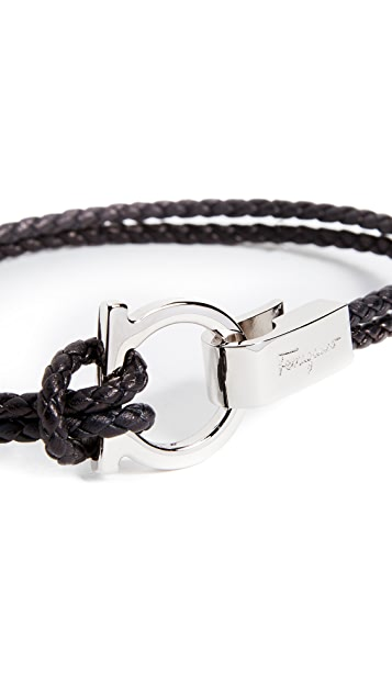 Salvatore Ferragamo Single Gancio Braided Leather Bracelet
